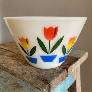 Vintage Fire King Mixing Bowl Tulip Design
